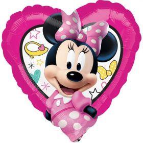 "Minnie Mouse Happ Helper Heart Shape Foil Balloon 18"""