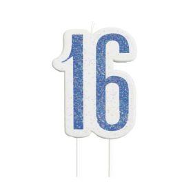Glitz Blue Age 16 Candle