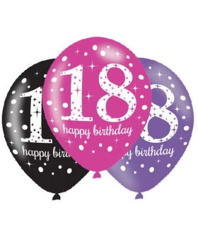 "Pink Sparkling Celebration 18th Latex Balloons 11"", pk6"