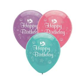 Mermaid Shine Latex Balloons 12'', pk6