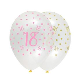 Pink Chic Happy Age 18 Latex Balloons 12'', pk6