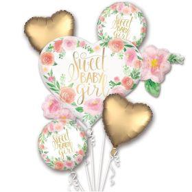 Floral Baby Satin Foil Balloon Bouquet, pk5