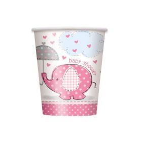 Umbrellaphants Pink 9oz Baby Shower Cups 8pk