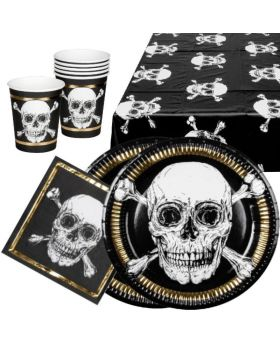 Black & Gold Pirate Skull Tableware Party Pack for 12
