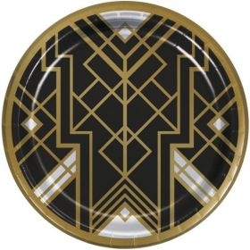 Roaring 20's Party Dinner Plates 23cm, pk8