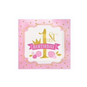 Pink and Gold 1st Birthday Lunch Napkins pk16