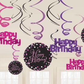 Pink Sparkling Celebration Happy Birthday Swirl Decorations, pk12