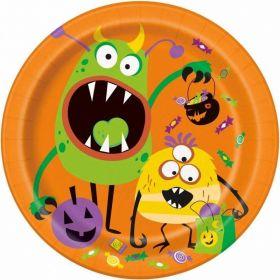Silly Halloween Monsters Plates 23cm, pk8