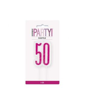 Glitz Pink 50th Birthday Candle