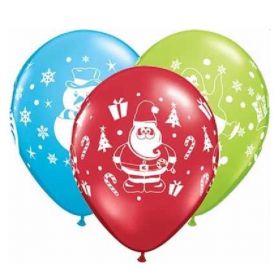 "Snowman, Penguin & Santa Latex Balloons 11"", pk6"