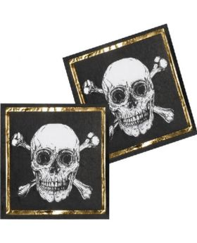 Black & Gold Pirate Napkins 33cm x 33cm, pk12