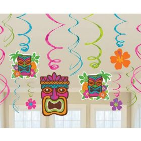 Hawaiian Tiki Swirl Decorations, pk12