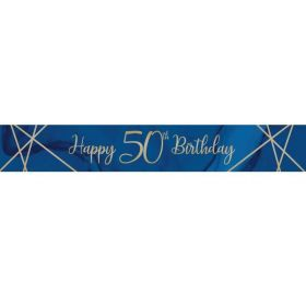 Navy & Gold Geode Party Age 50 Foil Banner 2.74m