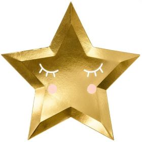 "Gold Star Shaped Plates 26"", pk6"
