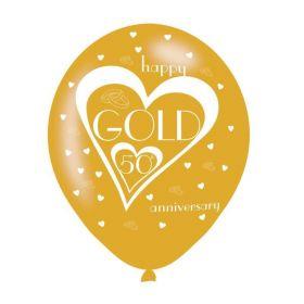 "Gold 50th Anniversary Latex Balloons  11"", pk6"