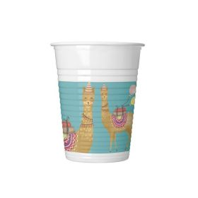 Llama Party Plastic Cups 200ml, pk8