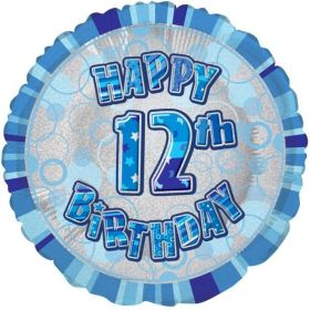 Blue Glitz Age 12 Foil Balloon 18""