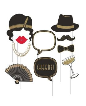 Roaring 20's Party Photo Props, pk10