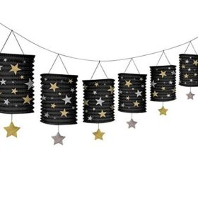 Black, Silver & Gold Lantern Garland 12ft