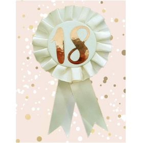 18th Birthday Rose Gold and Cream Rosette