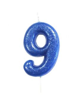 Age 9 Glitter Numeral Moulded Pick Candle Blue