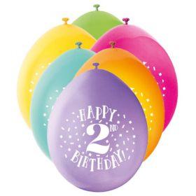 Age 2nd Printed Birthday Latex Balloons 9''