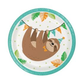 Sloth Party Lunch Plates 18cm, pk8