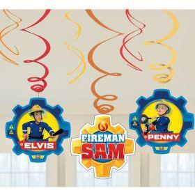 Fireman Sam Swirl Decorations, pk6