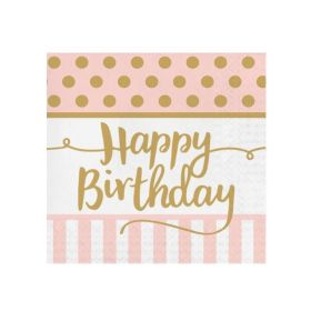 Pink Chic Happy Birthday Lunch Napkins 33cm x 33cm, pk20