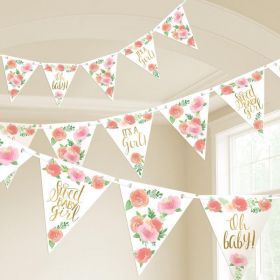 Floral Baby Pennant Banner 4.57m