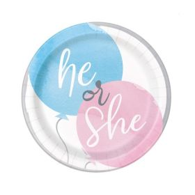Gender Reveal Party Plates 18cm, pk8