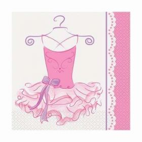 Pink Ballerina Party Napkins pk16