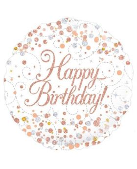Rose Gold Sparkling Dots Happy Birthday Foil Balloon 18""