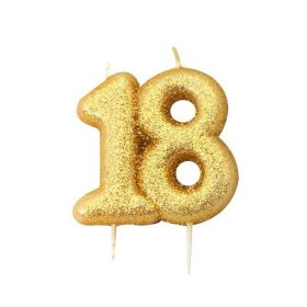 Age 18 Glitter Numeral Moulded Candle Gold