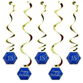 Navy & Gold Geode Party Age 18 Dizzy Danglers, pk5