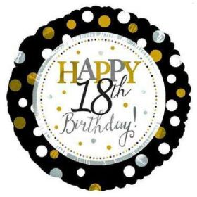 Black & Gold Dots Happy 18th Birthday Foil Balloon 18""