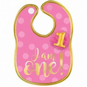 1st Birthday Girl Polyester Bib