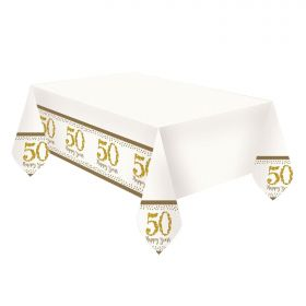 Sparkling Golden Anniversary Plastic Tablecovers