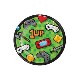 Gaming Party Dessert Plates 18cm, pk8