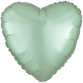 "Mint Green Heart Satin Foil Balloon 17"""