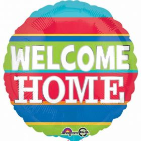 Welcome Home Colourful Stripes Standard Foil Balloon 17''