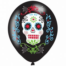 Day of the Dead Latex 4 Colour Balloons 11'', pk6