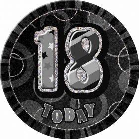 Black Glitz Giant 18th Today Birthday Badge