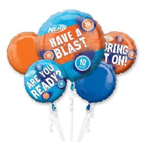 NERF Party Foil Balloon Bouquet, pk5