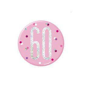 Glitz Pink Age 60 Badge 7.5cm