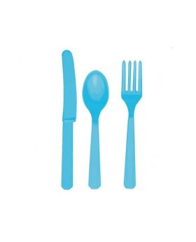 Caribbean Blue Plastic Cutlery Assortment, pk24