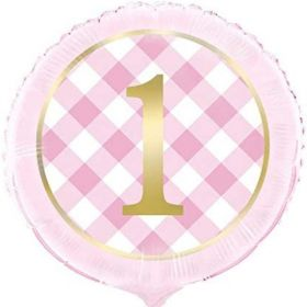 Pink Gingham 1st Birthday Party Foil Balloon 18""