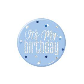 Glitz Blue Happy Birthday Badge 7.5cm
