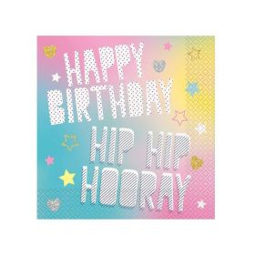 Unicorn Birthday Party Napkins 33cm x 33cm, pk16