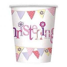 Christening Pink Bunting Party Cups